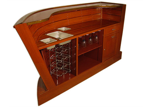 Home bar showcases inner ceiling boards and teak & 