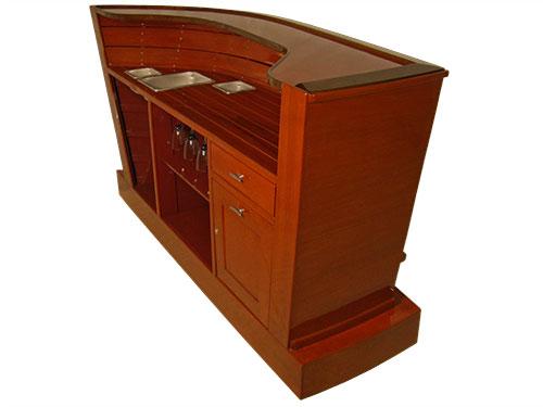 Bar furniture slide show, Mystique home bar, right rear corner isometric view.