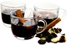 Glasses of Scandinavian hot spiced mulled wine called glogg.